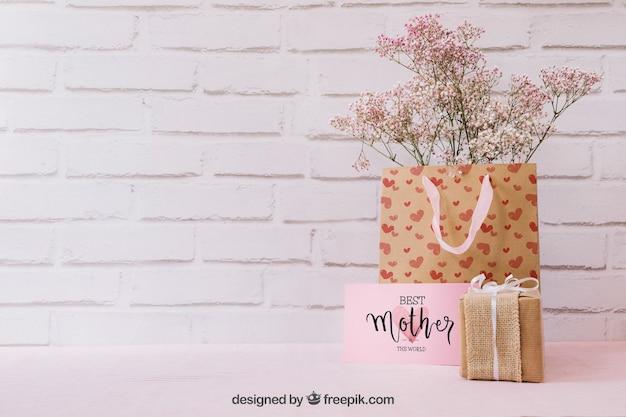 Матовый день макетов с подарками и copyspace Бесплатные Psd