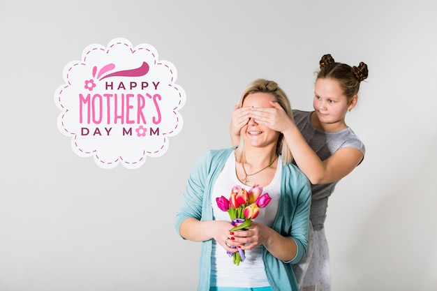 Mothers day portrait with label Free Psd