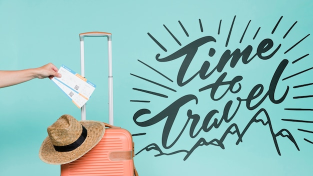 Motivational lettering quote for holidays traveling concept Free Psd
