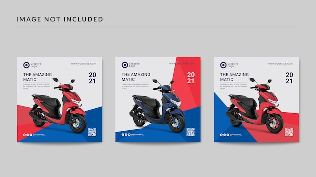 Motorcycle instagram post template Premium Psd