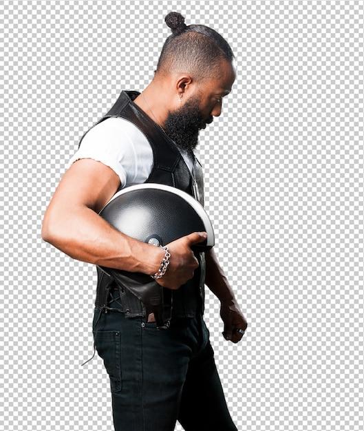 Motorcyclist man holding an helmet Premium Psd