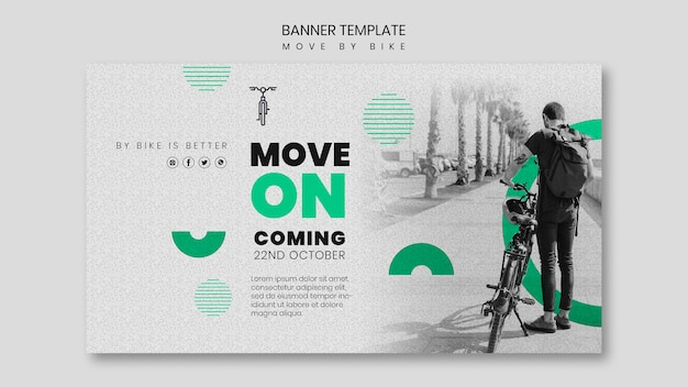 Move by bike banner design Free Psd