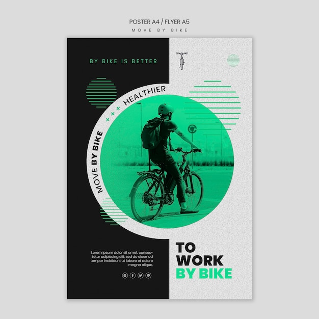 Move by bike flyer template Free Psd