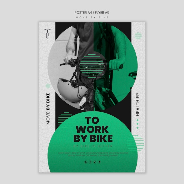 Move by bike poster design Free Psd