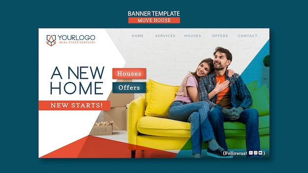Move house banner template Free Psd