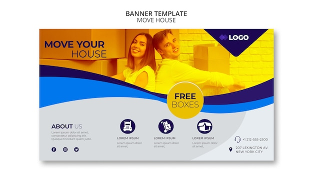 Move house business banner template Free Psd