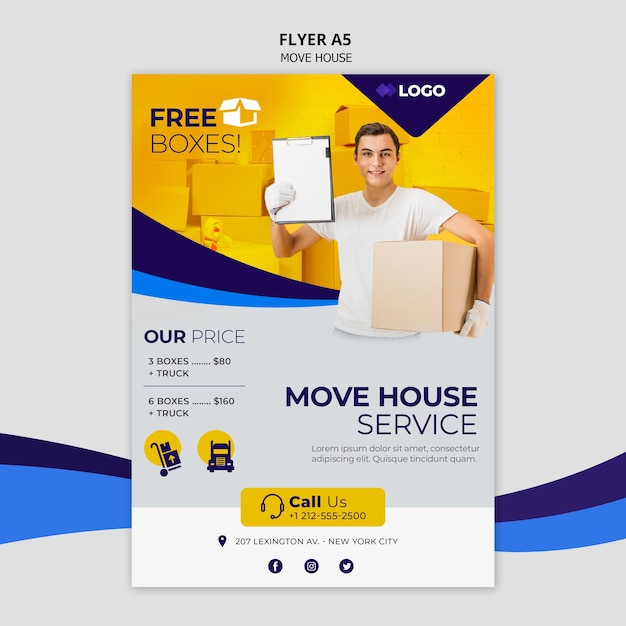 Move house business flyer template Free Psd