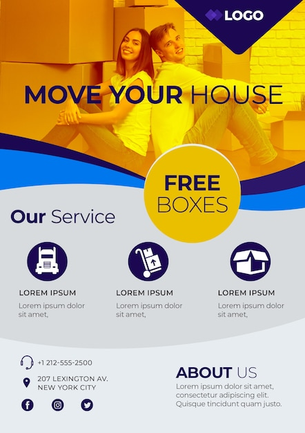 Move house business poster template Free Psd