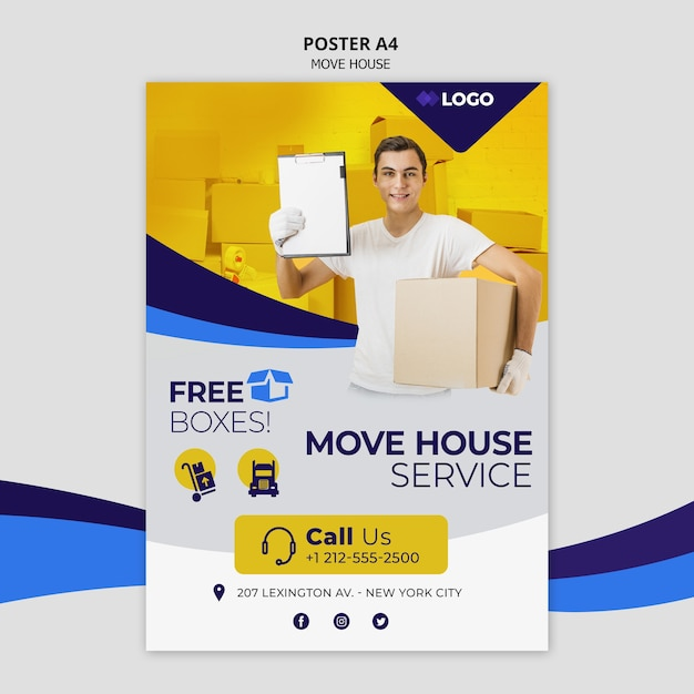 Move house business template flyer Premium Psd
