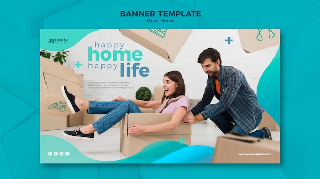 Move house concept banner template Free Psd