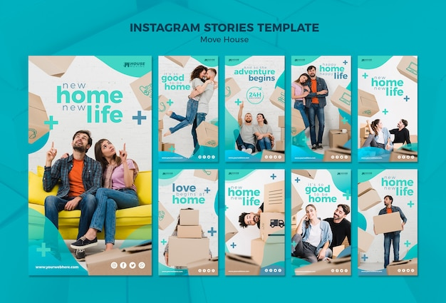 Move house concept instagram stories template Free Psd