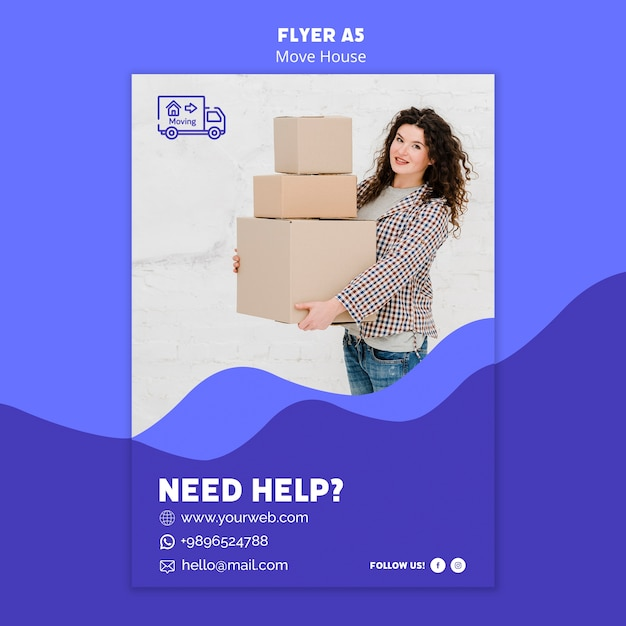 Move house flyer template theme Free Psd