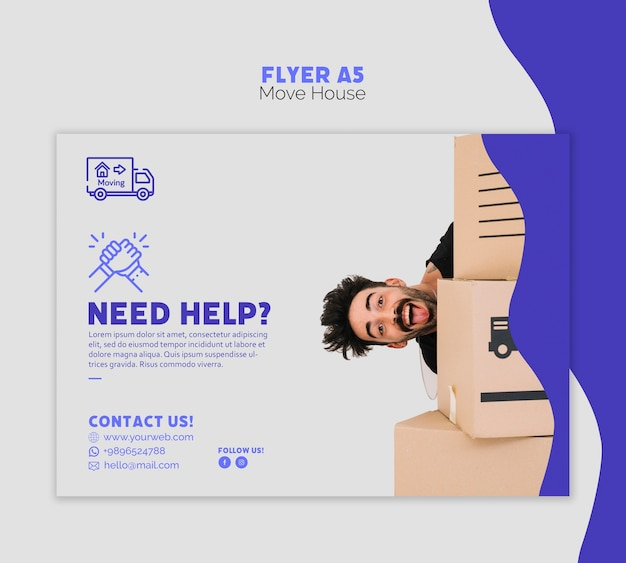 Move house flyer template Free Psd