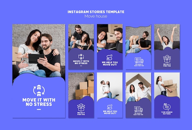 Move house instagram stories template Free Psd