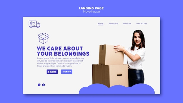 Move house landing page template theme Free Psd