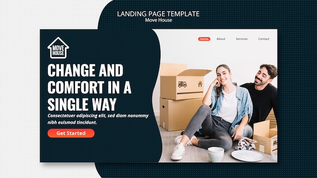 Move house landing page template Free Psd