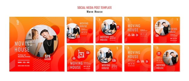 Move house social media post template Free Psd
