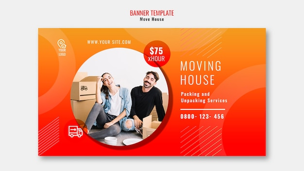 Move house template banner Free Psd