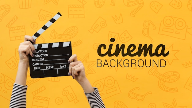 Movie clapper board cinema background Premium Psd