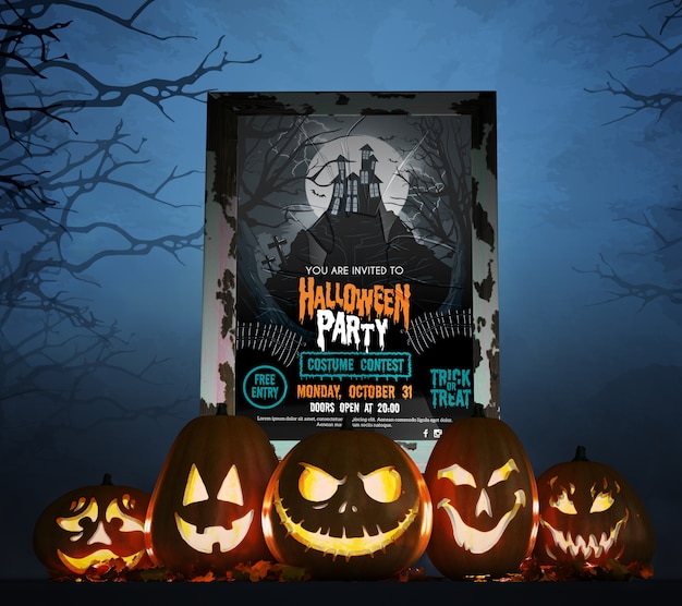 Movie poster for halloween celebration Free Psd