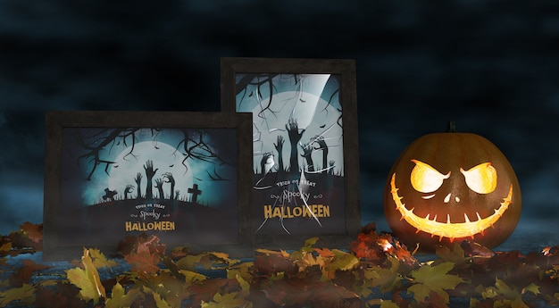 Movie posters for halloween celebration with scary pumpkin Free Psd