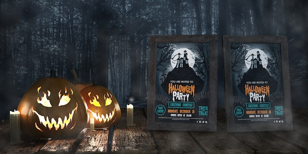Movie posters for halloween celebration Free Psd