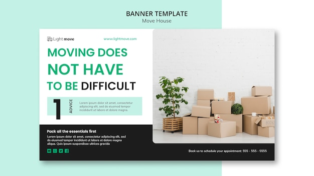 Moving company banner template Free Psd