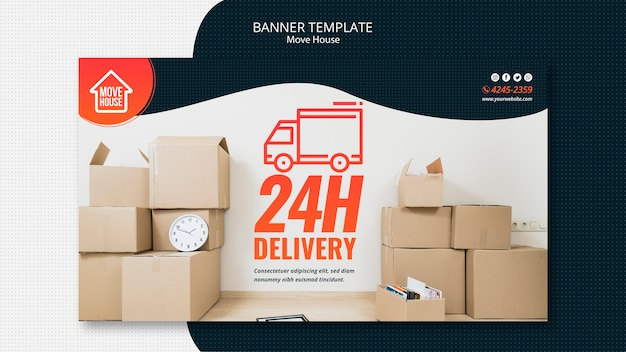 Moving house banner template Free Psd
