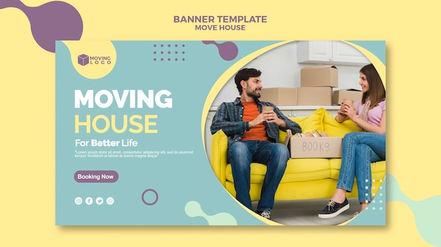 Moving house for better life banner Free Psd
