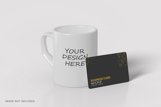 Mug and business card mockup design isolated Premium Psd