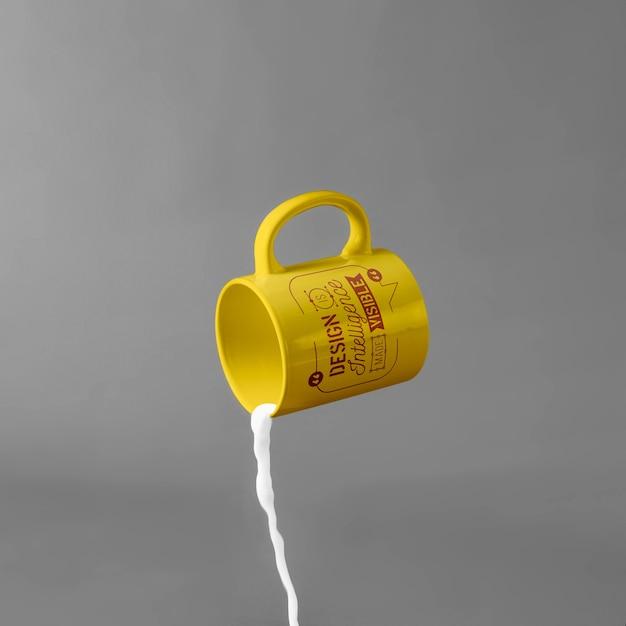 Mug mockup with milk Free Psd