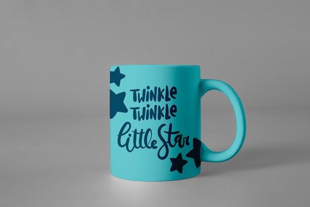 Mug mockup with quote Free Psd