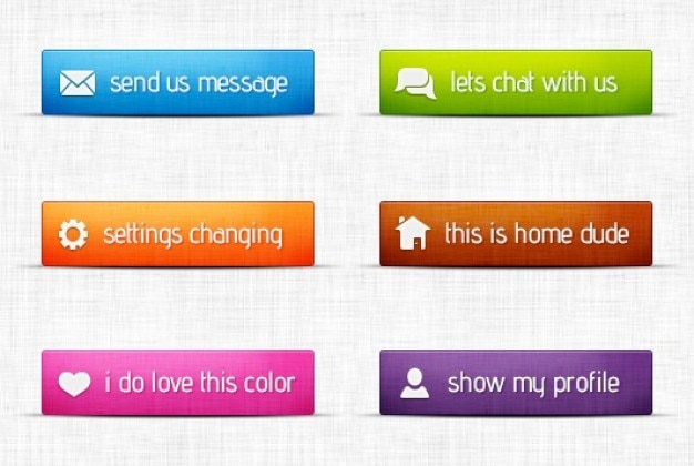 Multi colored buttons with icons Free Psd