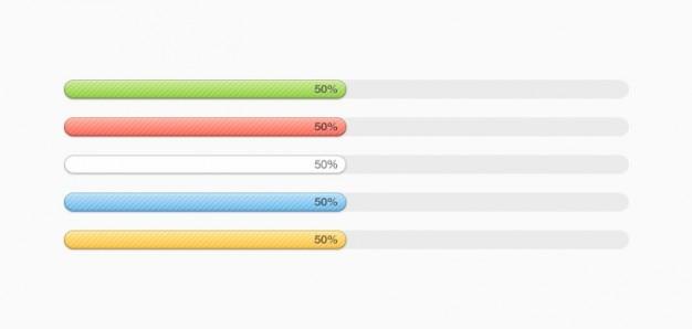 Multi-coloured progress bars (psd) Free Psd