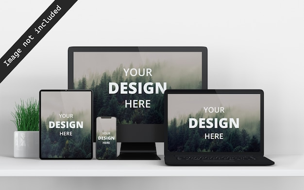Multi devices mockup front view Premium Psd