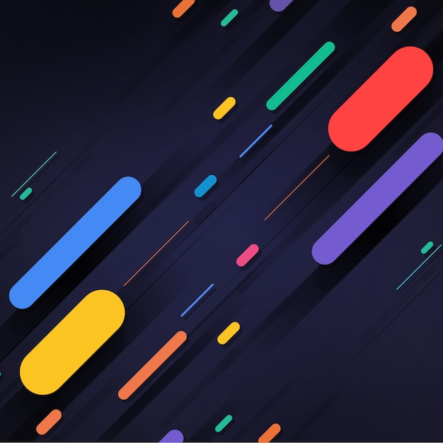 Multicolor shapes on black backround Free Psd