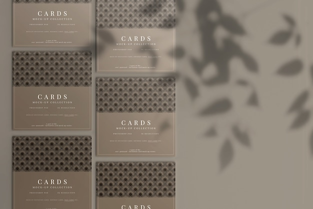평평한 모서리가있는 다목적 정사각형 카드 목업 프리미엄 PSD 파일