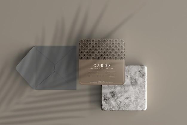 모서리가 둥근 다목적 정사각형 카드 목업 프리미엄 PSD 파일
