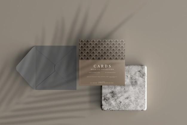 다목적 정사각형 카드 목업 프리미엄 PSD 파일