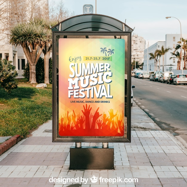 Mupi mockup at bus stop Free Psd