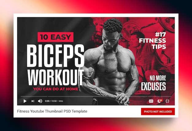 Muscle toning fitness workout youtube channel thumbnail and web banner Premium Psd