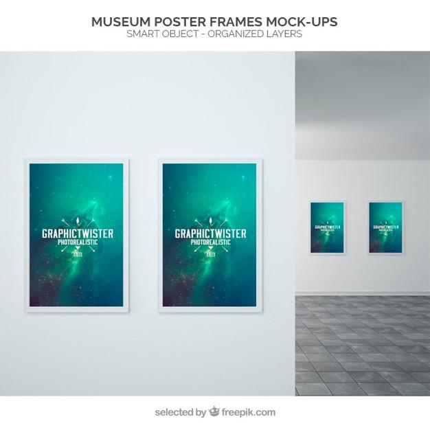 Museum poster frames mockup PSD file | Free Download