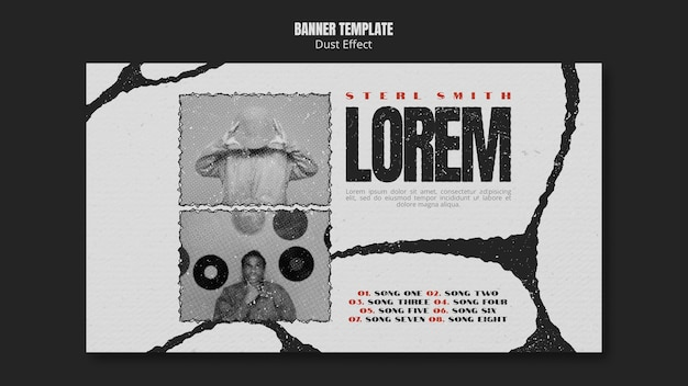 Music album banner template with dust effect Free Psd