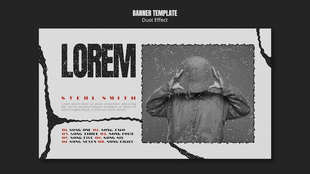 Music album banner with dust effect and photo Free Psd