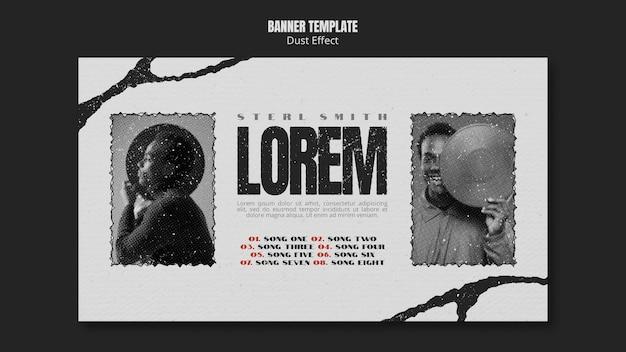 Banner di album musicale con effetto polvere Psd Gratuite