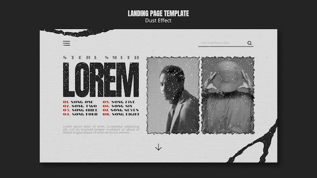Home page dell'album musicale con effetto polvere Psd Gratuite