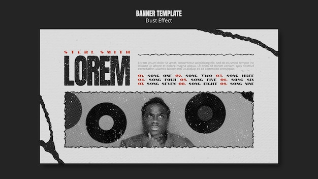 Music album horizontal banner with dust effect Free Psd