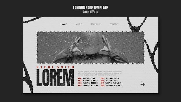 Modello di pagina di destinazione dell'album musicale con effetto polvere Psd Gratuite