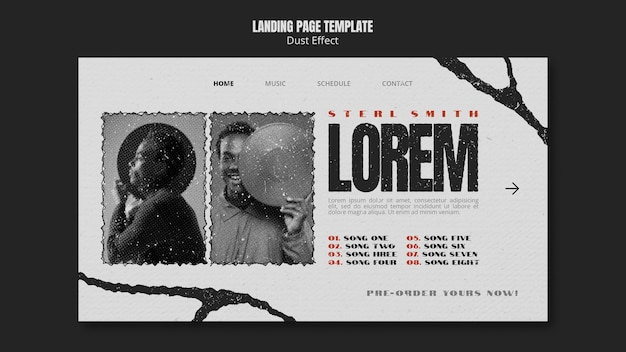 Music album landing page with dust effect Free Psd