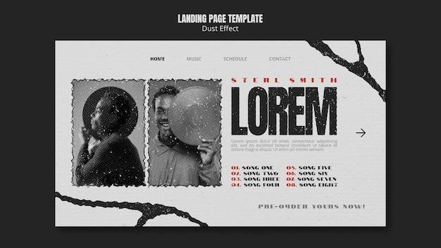 Целевая страница музыкального альбома с эффектом пыли Бесплатные Psd